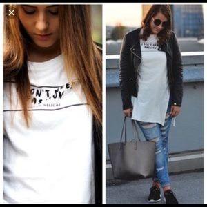 "ZARA | ""I don't need fashion"" slit tee"